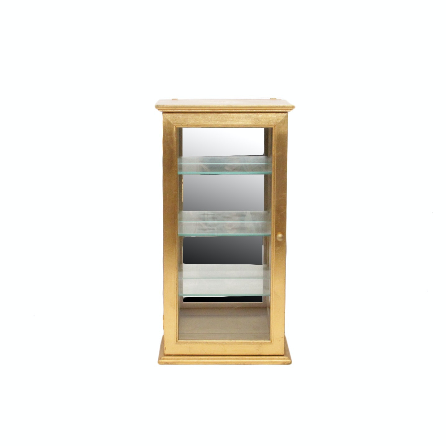 Gold Tone Painted Wooden Display Cabinet