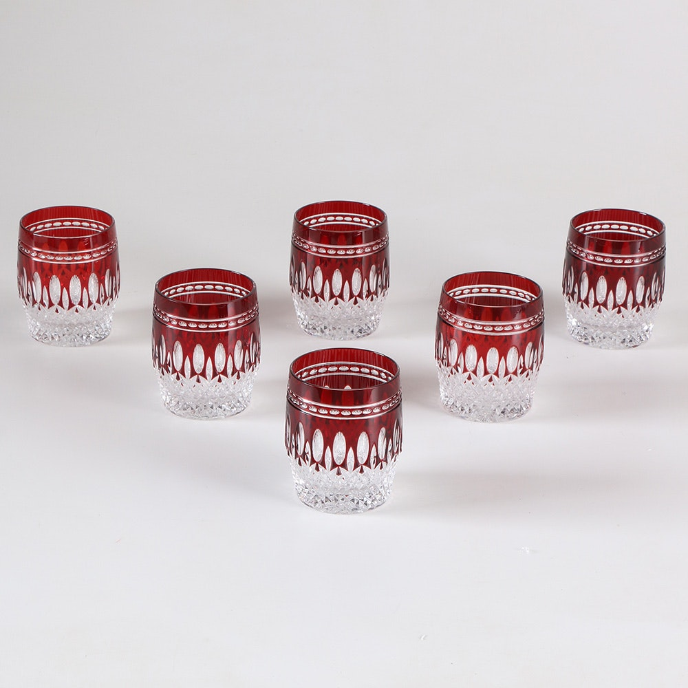 Collection of Ruby Waterford Crystal Double Old Fashion Tumblers