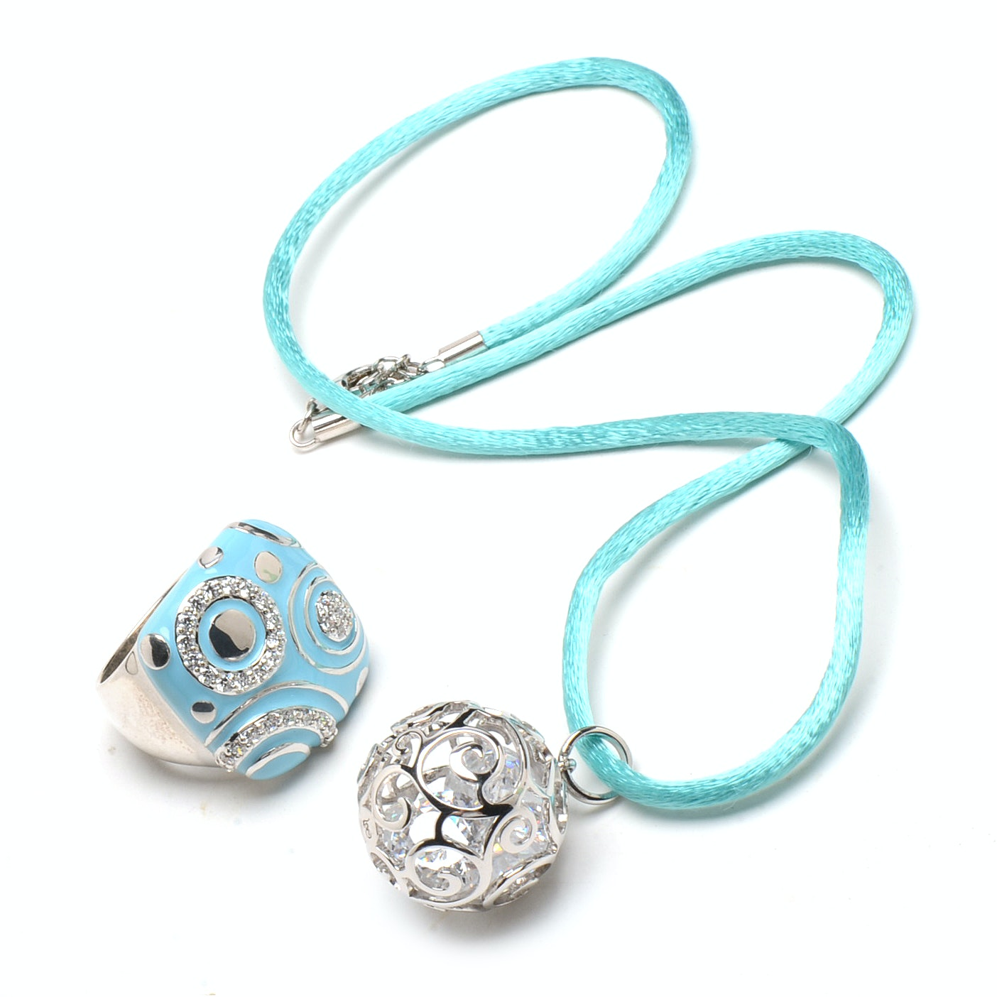 """Belle Étoile Sterling Silver Cubic Zirconia Turquoise Enamel """"Galaxy"""" Ring and Necklace"""