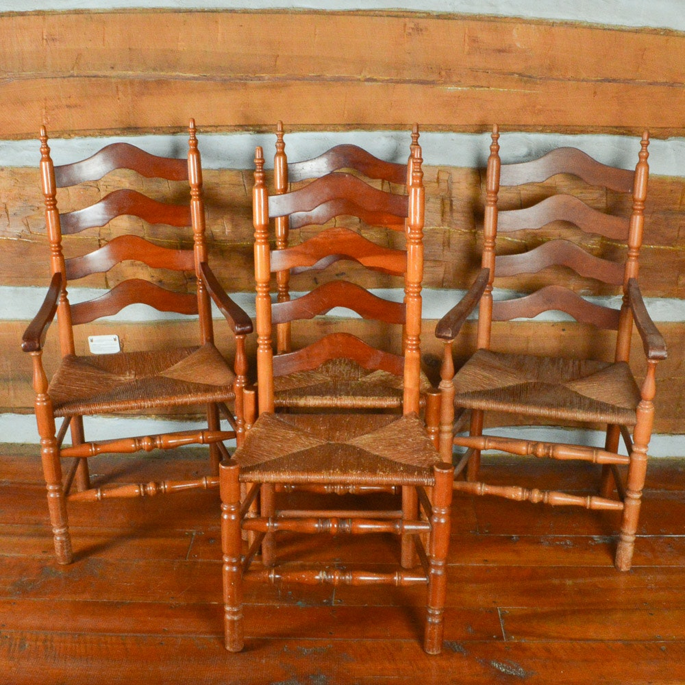 Vintage Ladder Back Chairs With Rush Seats ...