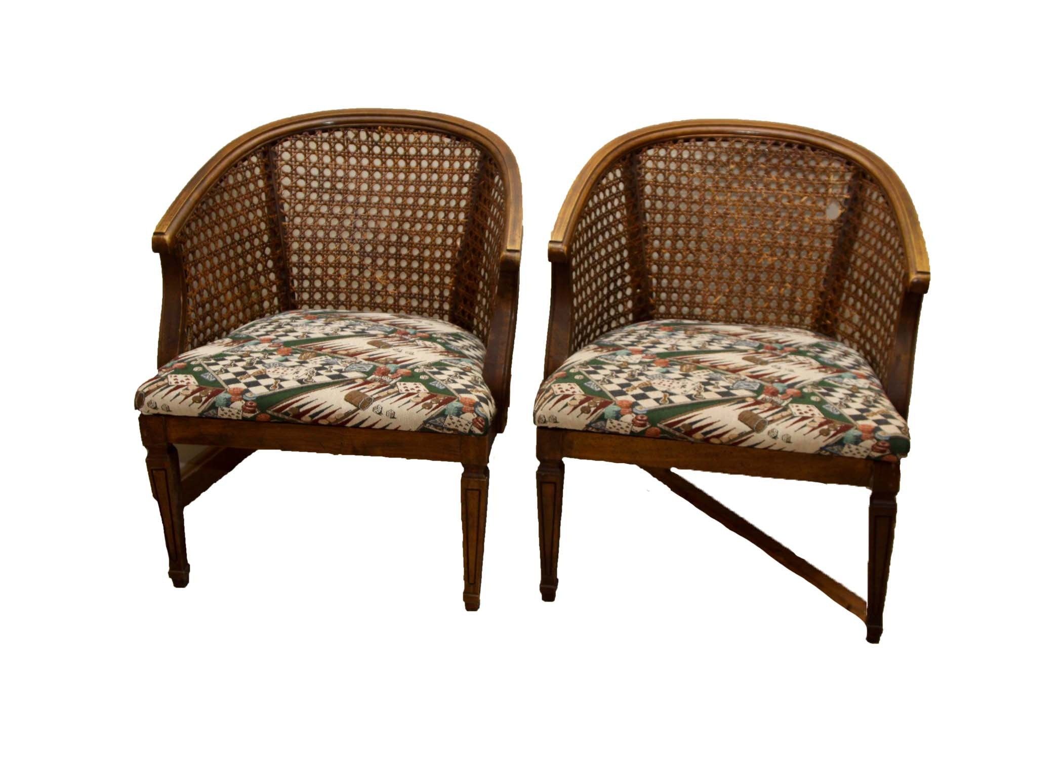 Mid Century Barrel Back Cane Chairs ...