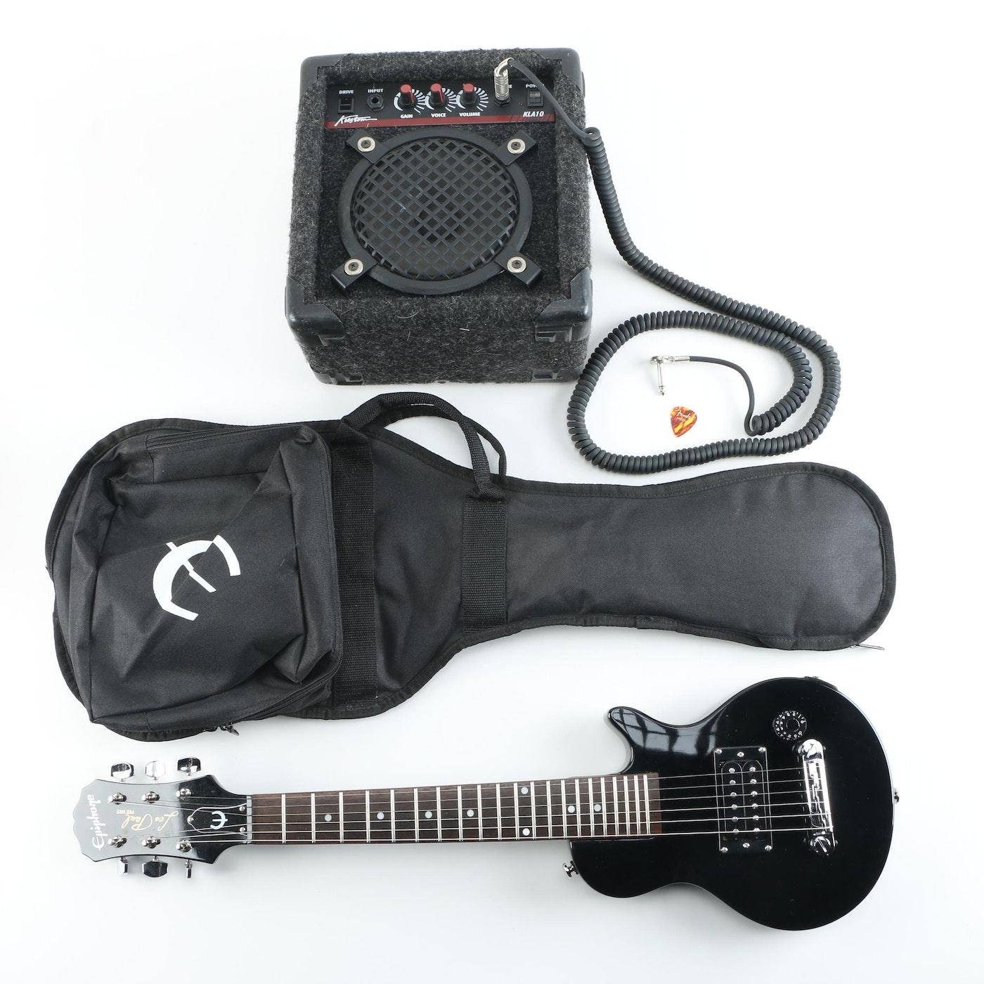 epiphone les paul pee wee electric guitar and kustom practice amp ebth. Black Bedroom Furniture Sets. Home Design Ideas