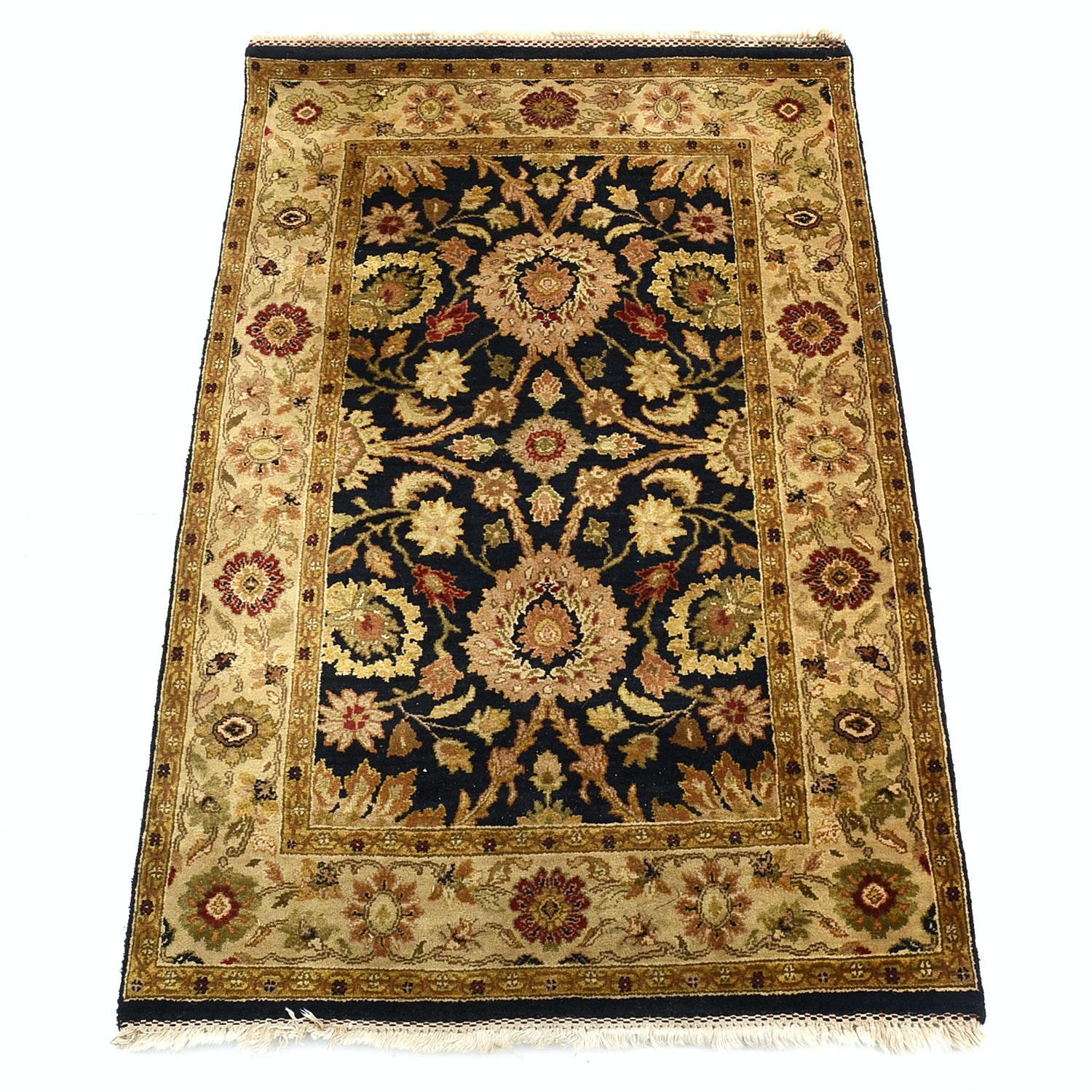 Indo-Persian Machine Loomed Wool Accent Rug