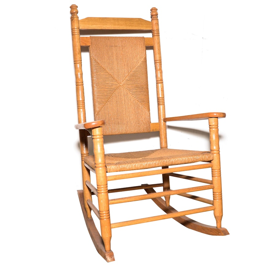 Rocking Chair With Woven Rush Back And Seat
