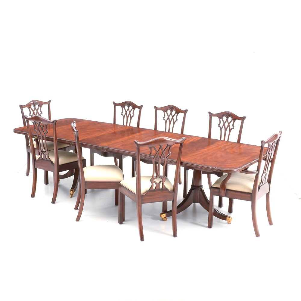 Eight Maitland-Smith Chippendale Style Chairs with Table
