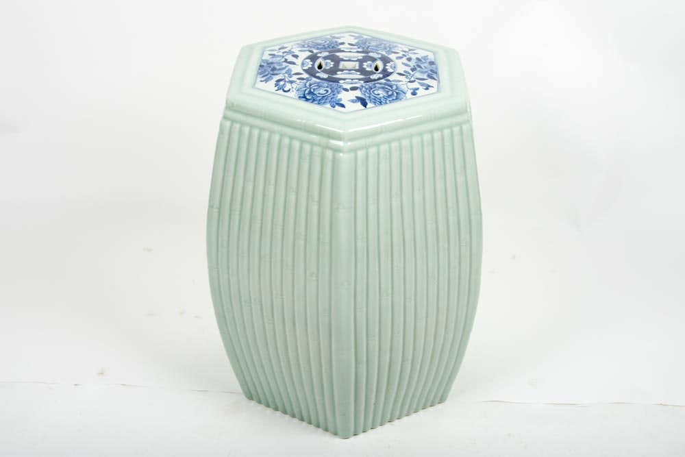 Vintage Chinese Porcelain Celadon Garden Stool ... & Vintage Chinese Porcelain Celadon Garden Stool : EBTH islam-shia.org