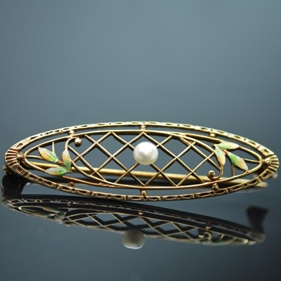 14K Yellow Gold Cultured Pearl and Enamel Leaf Brooch