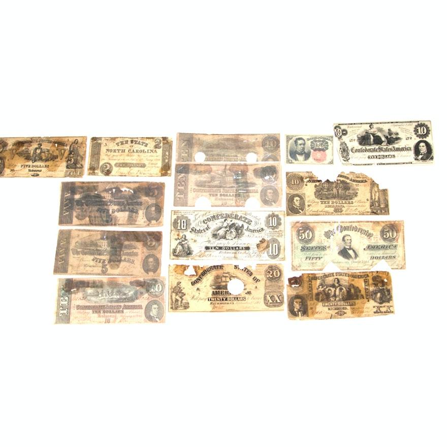 Collection of Confederate Banknotes Circa 1861-1864