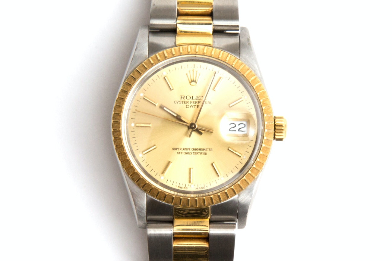 Rolex Oyster Perpetual Date 18K Yellow Gold And Stainless Steel Wristwatch