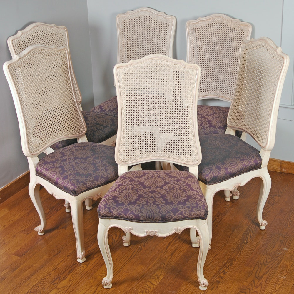 Beau Six Louis XV Style Cane Backed Dining Chairs ...