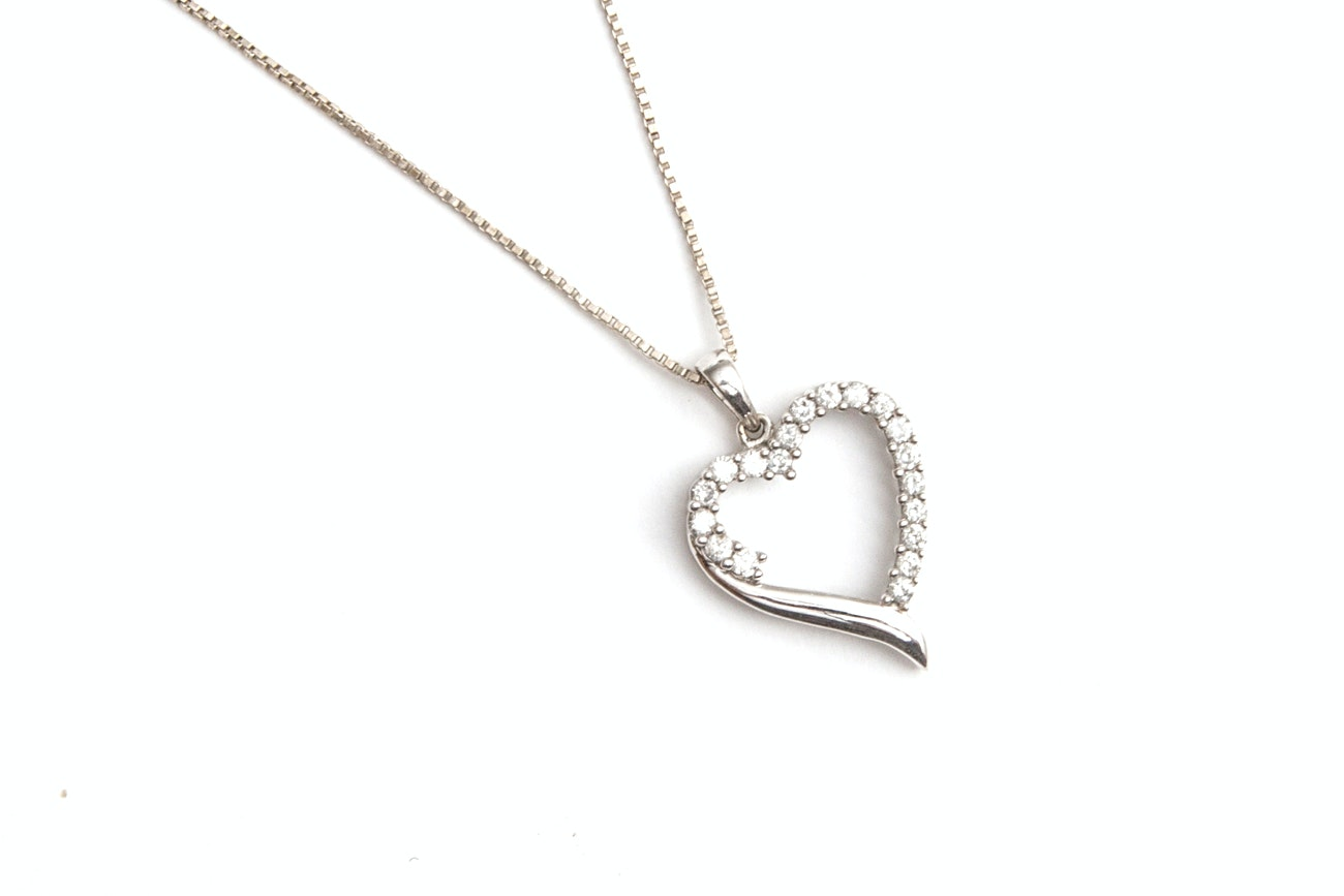 10K White Gold And Sterling Silver Diamond Heart Necklace