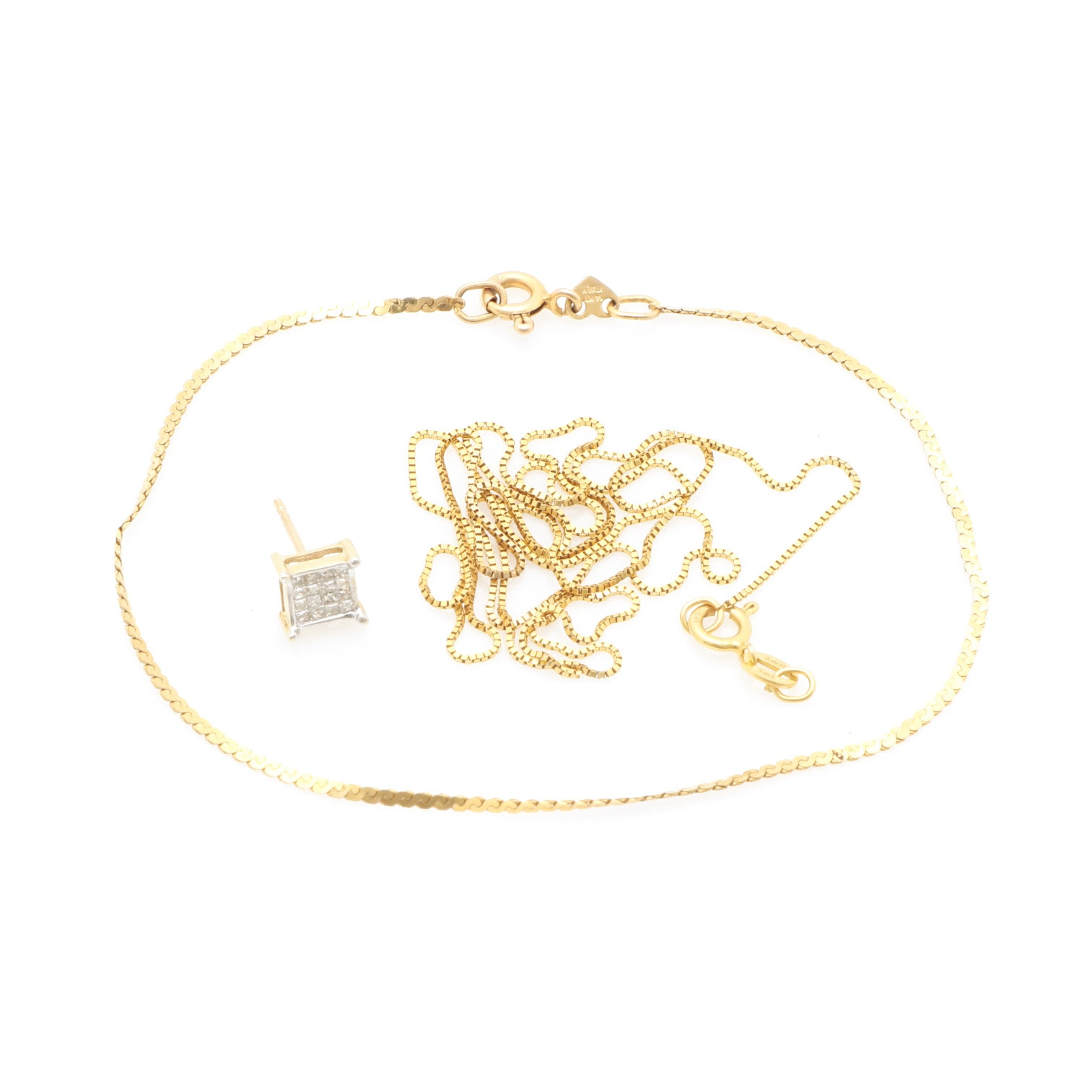 14K Yellow Gold and Diamond Jewelry For Scrap