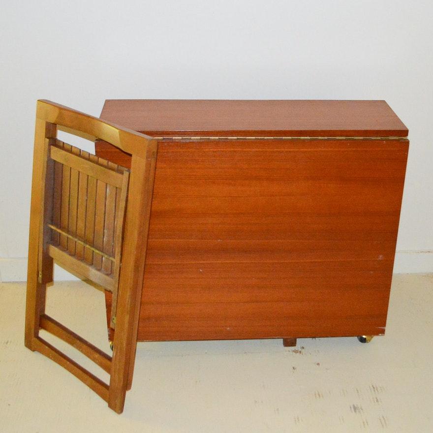 Vintage Teak Drop Leaf Table With Folding Chairs : EBTH