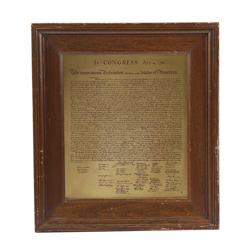 Framed Engraving on Metal Declaration of Independence : EBTH