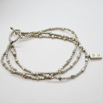 Stering Silver Three Strand Beaded Bracelet