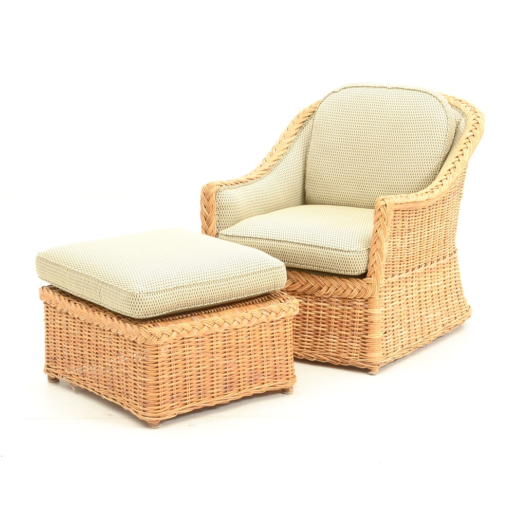 Upholstered Wicker Chair with Ottoman