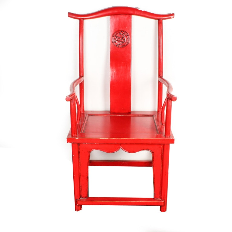 Chinese Style Red Lacquered Yoke Back Chair ...