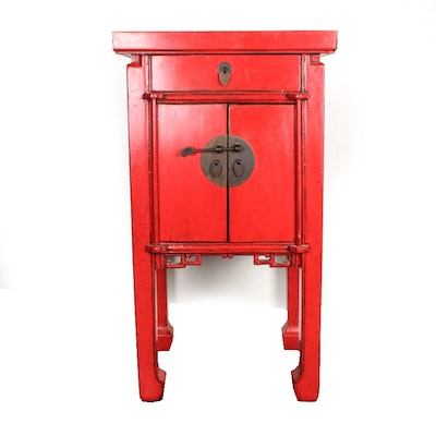 Chinese-Style Red Lacquered End Table