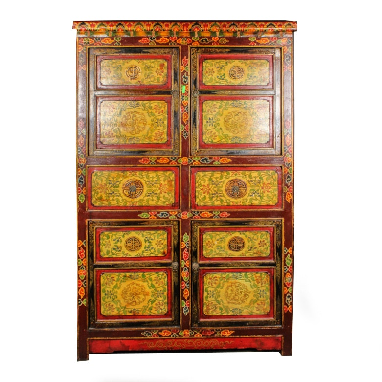 Chinese Hand-Painted Rosewood Cabinet