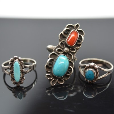 Three Native American Style Sterling Silver Rings