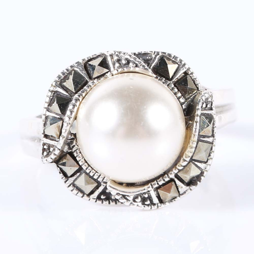 sterling silver simulated mabe pearl and marcasite ring ebth
