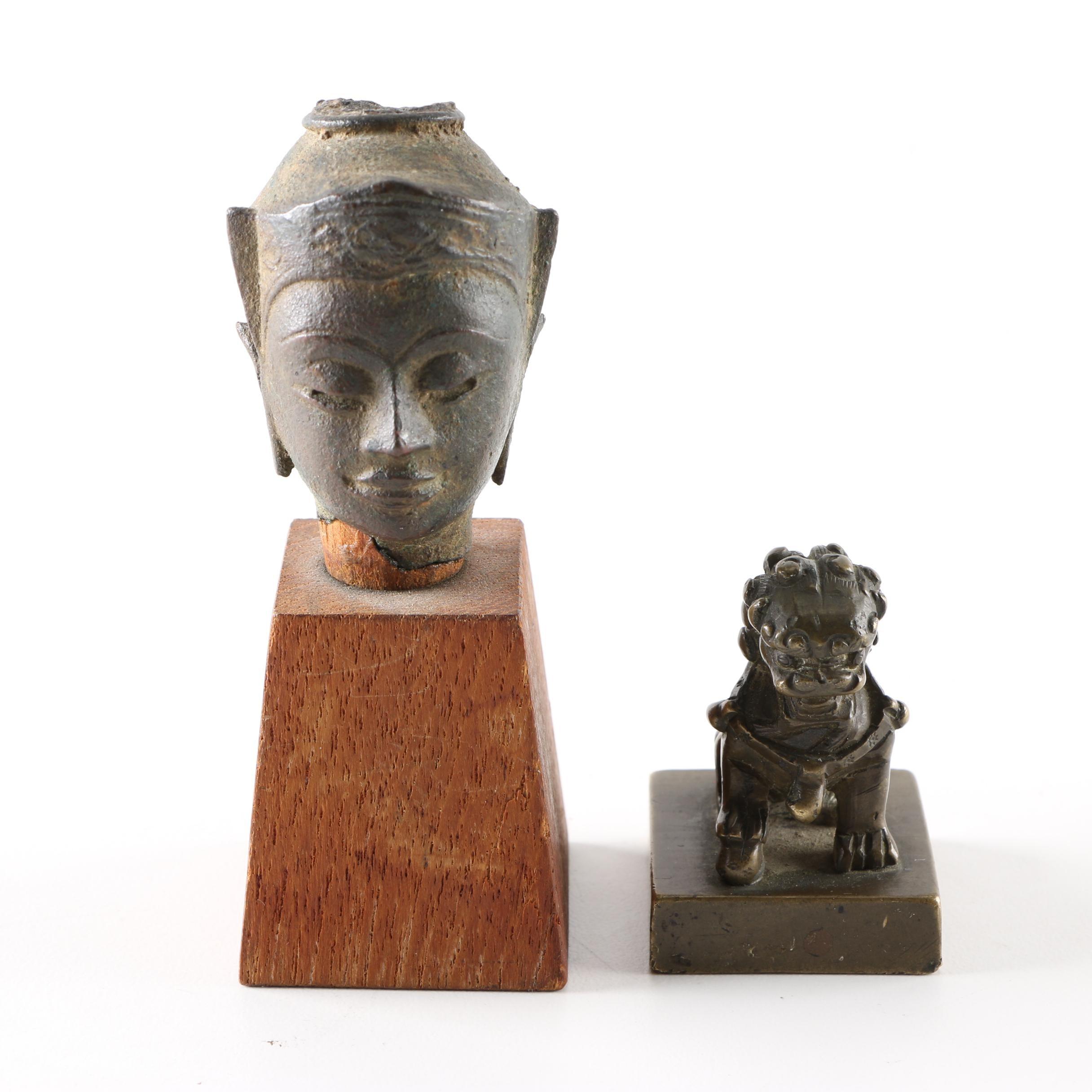 Chinese Bronze Seal and Southeast Asian Iron Bodhisattva