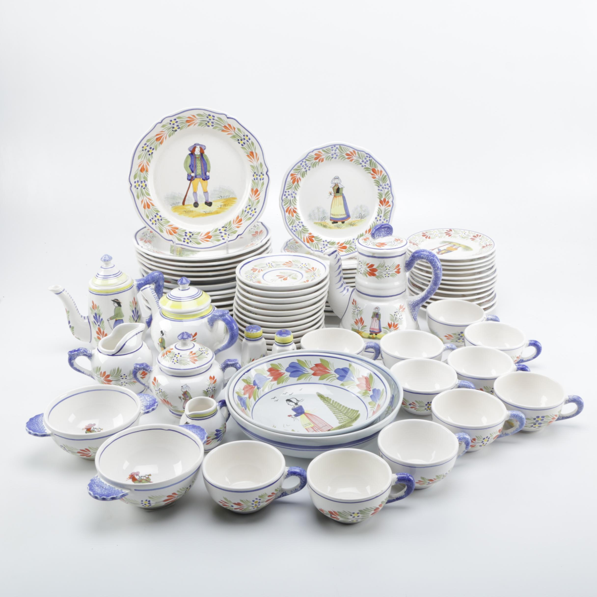 Henriot Quimper Ceramic Hand-Painted Dinnerware Set