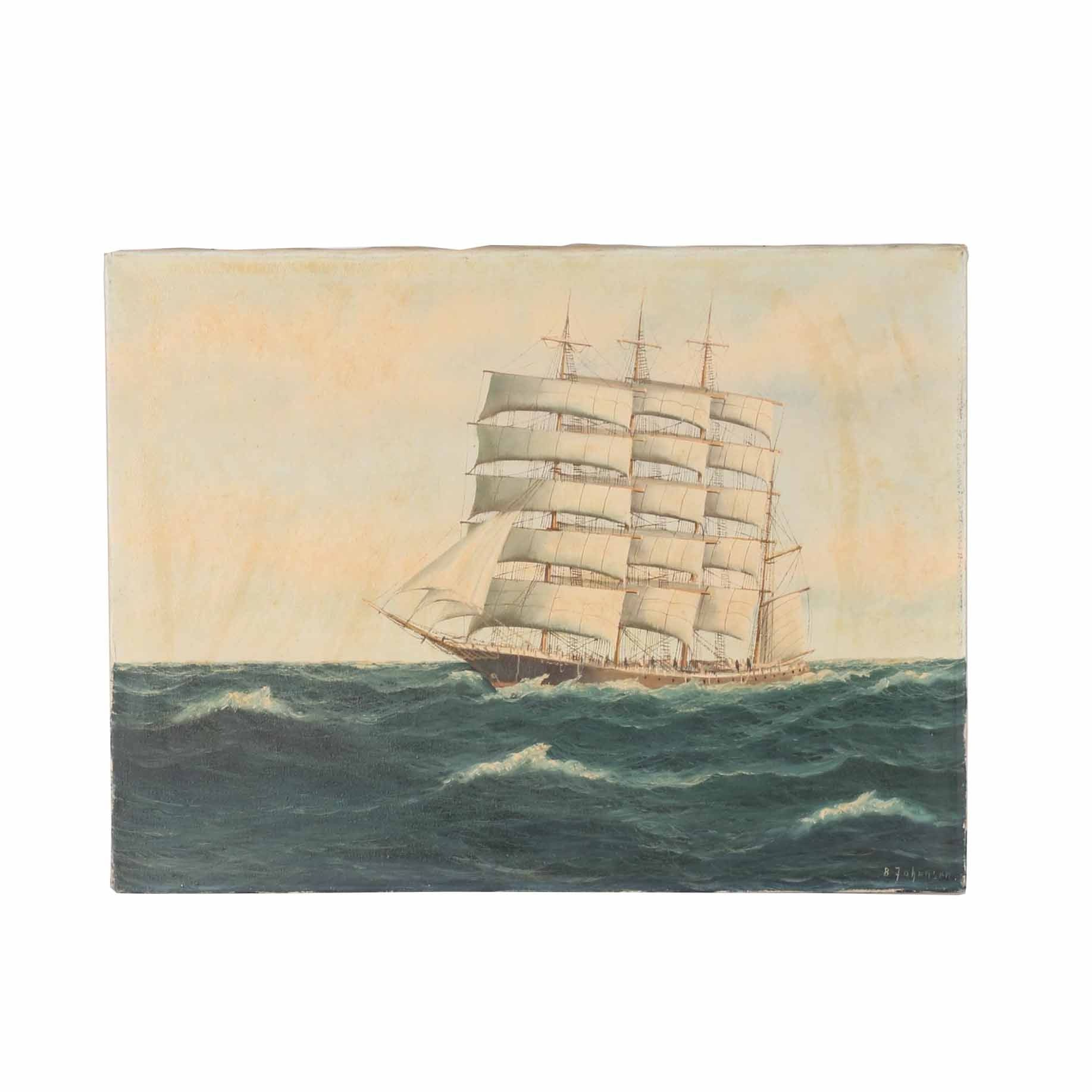 B. Johansen Oil Painting of a Ship