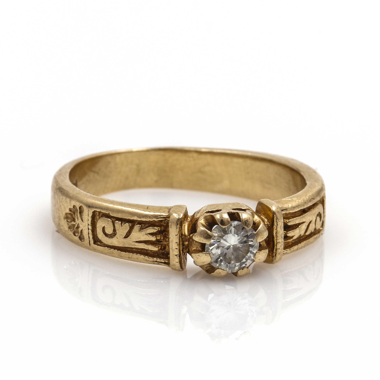 14K Yellow Gold Floral Diamond Ring