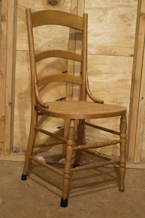 Wood Chair With Caned Seat Ebth
