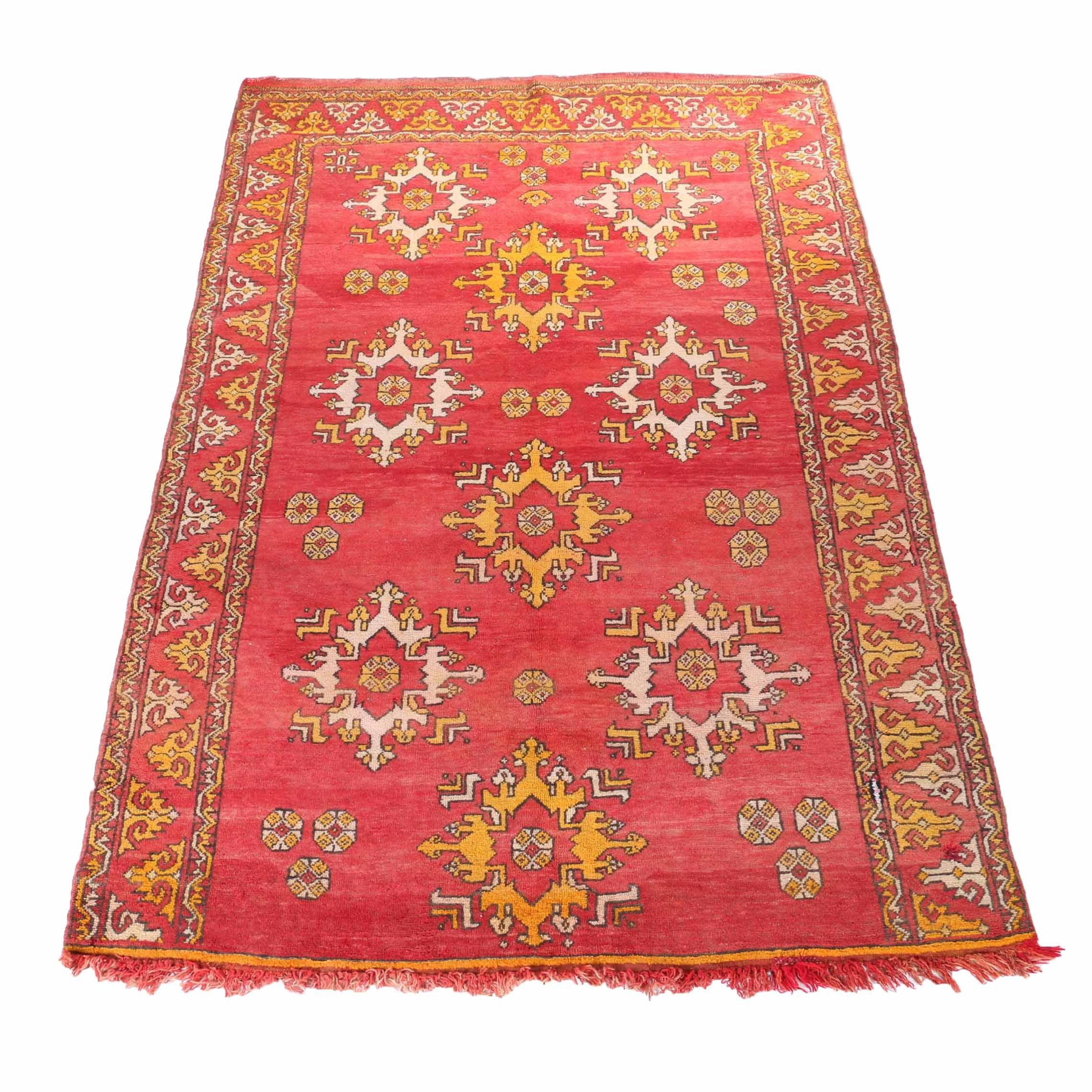 Hand-Knotted Turkish Oushak Area Rug in Scarlet