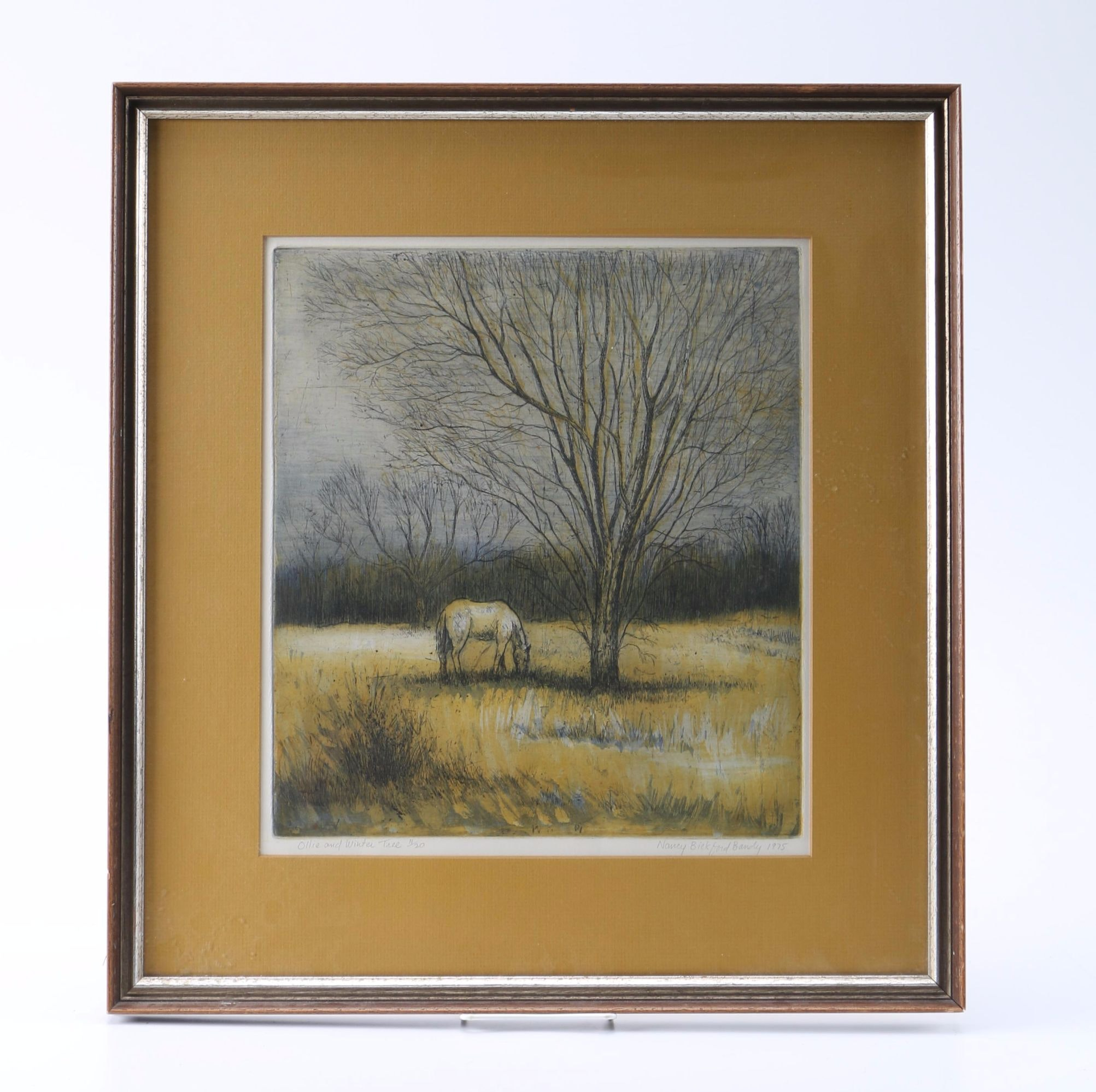 """Nancy Bickford Bandy 1975 Limited Edition Etching on Paper """"Ollie and Winter Tree"""""""