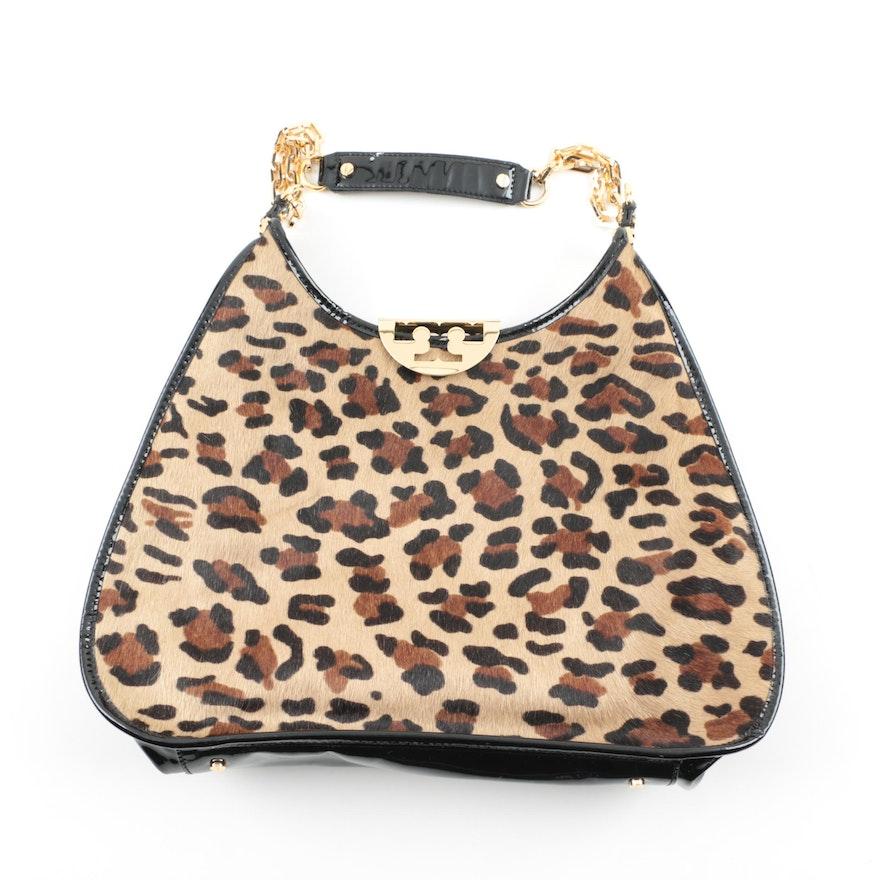 95e75b995db8 Tory Burch Calf Hair Leopard Print Hobo Handbag : EBTH