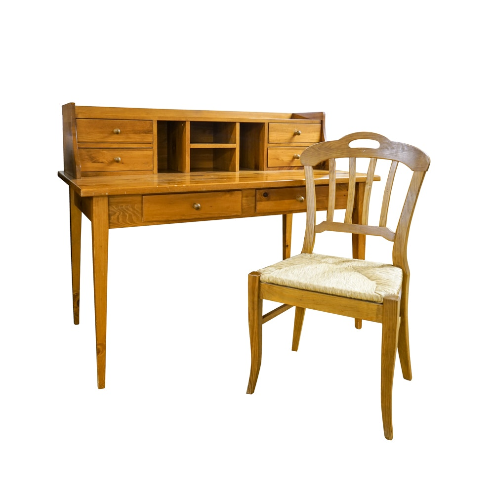 Pine Hepplewhite Style Writing Table With Rush Seat Chair