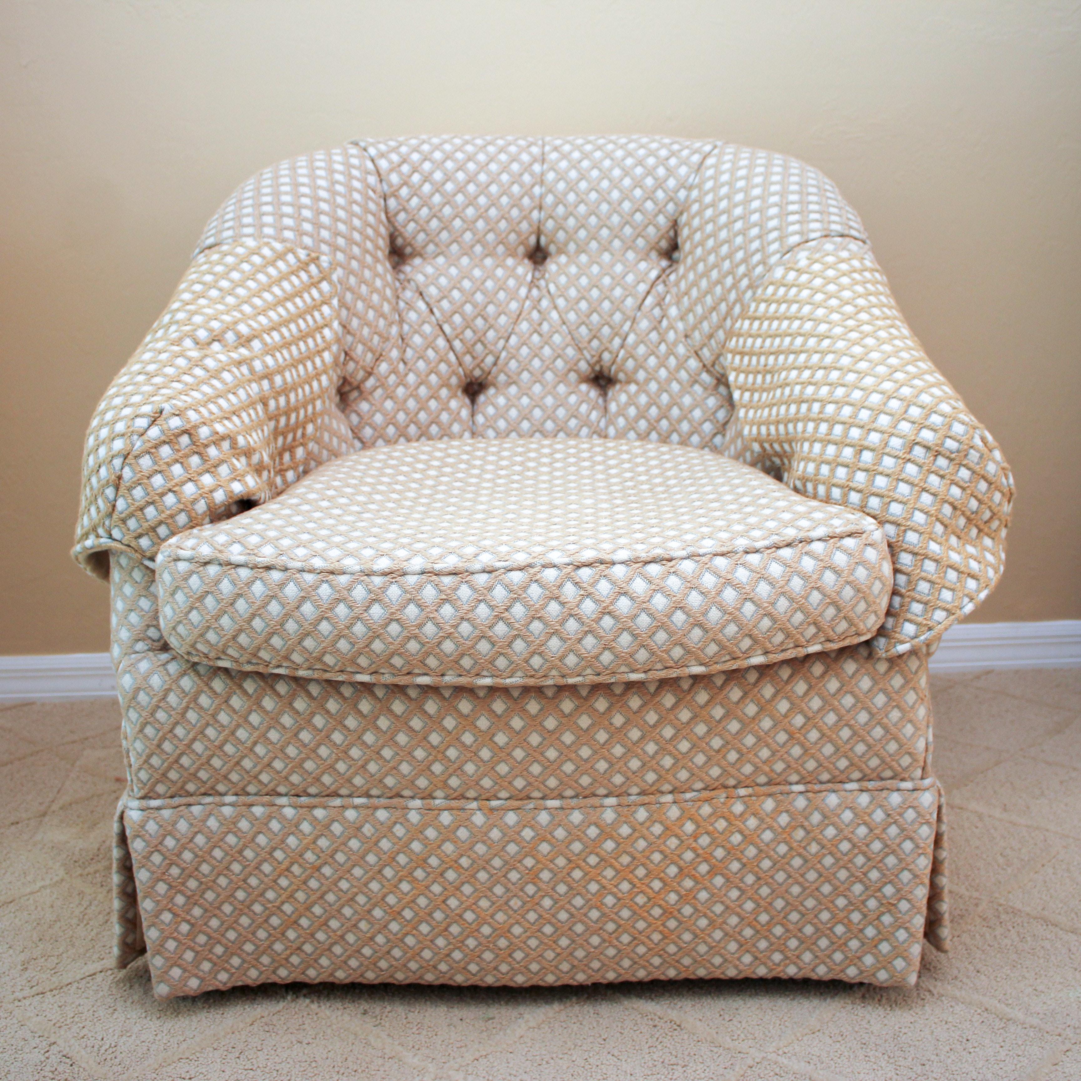 Baker Furniture Barrel Back Upholstered Armchair