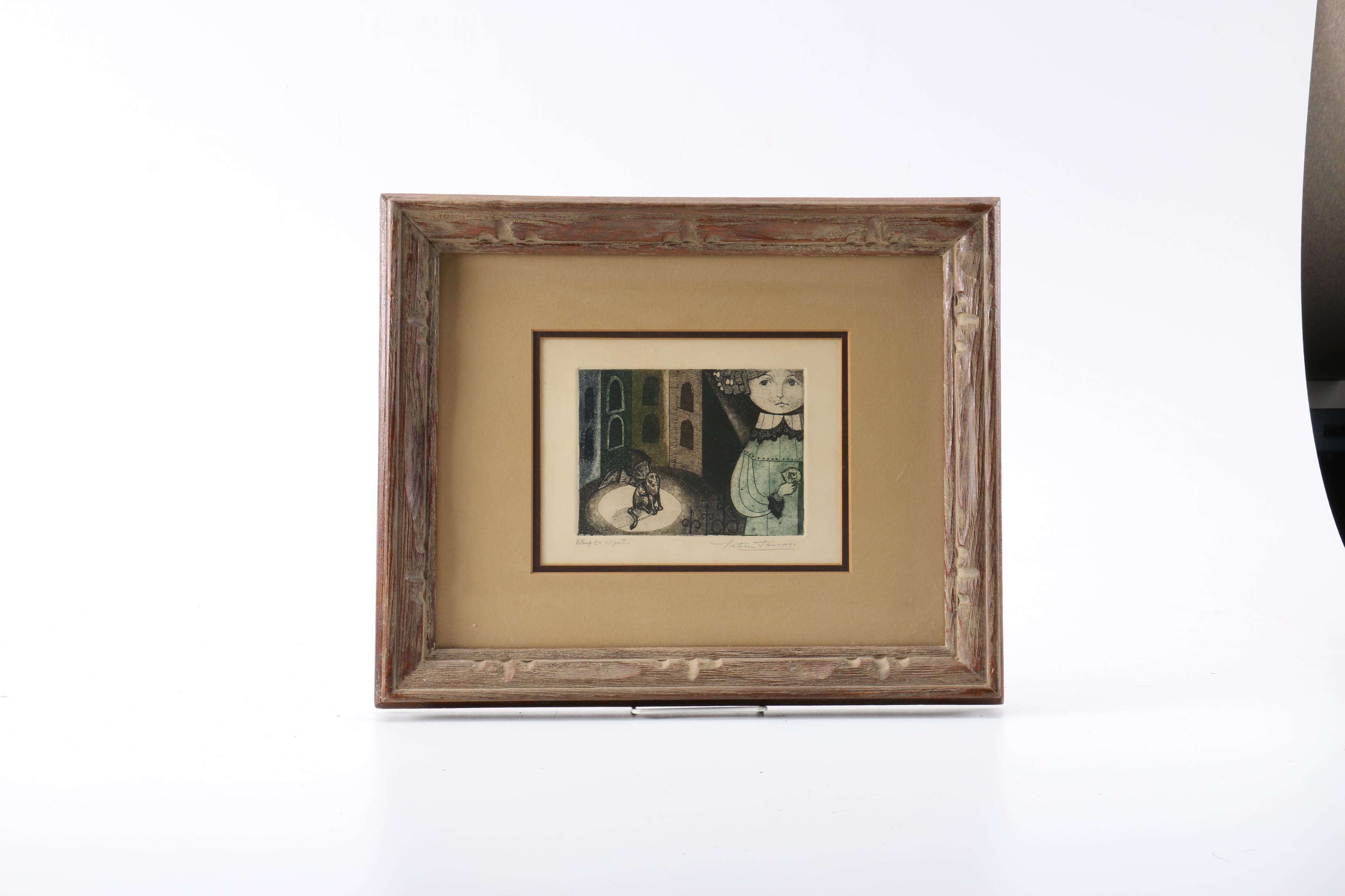 "Leticia Tarrago Limited Edition Artist's Proof Aquatint Etching on Paper ""En el Patio"""