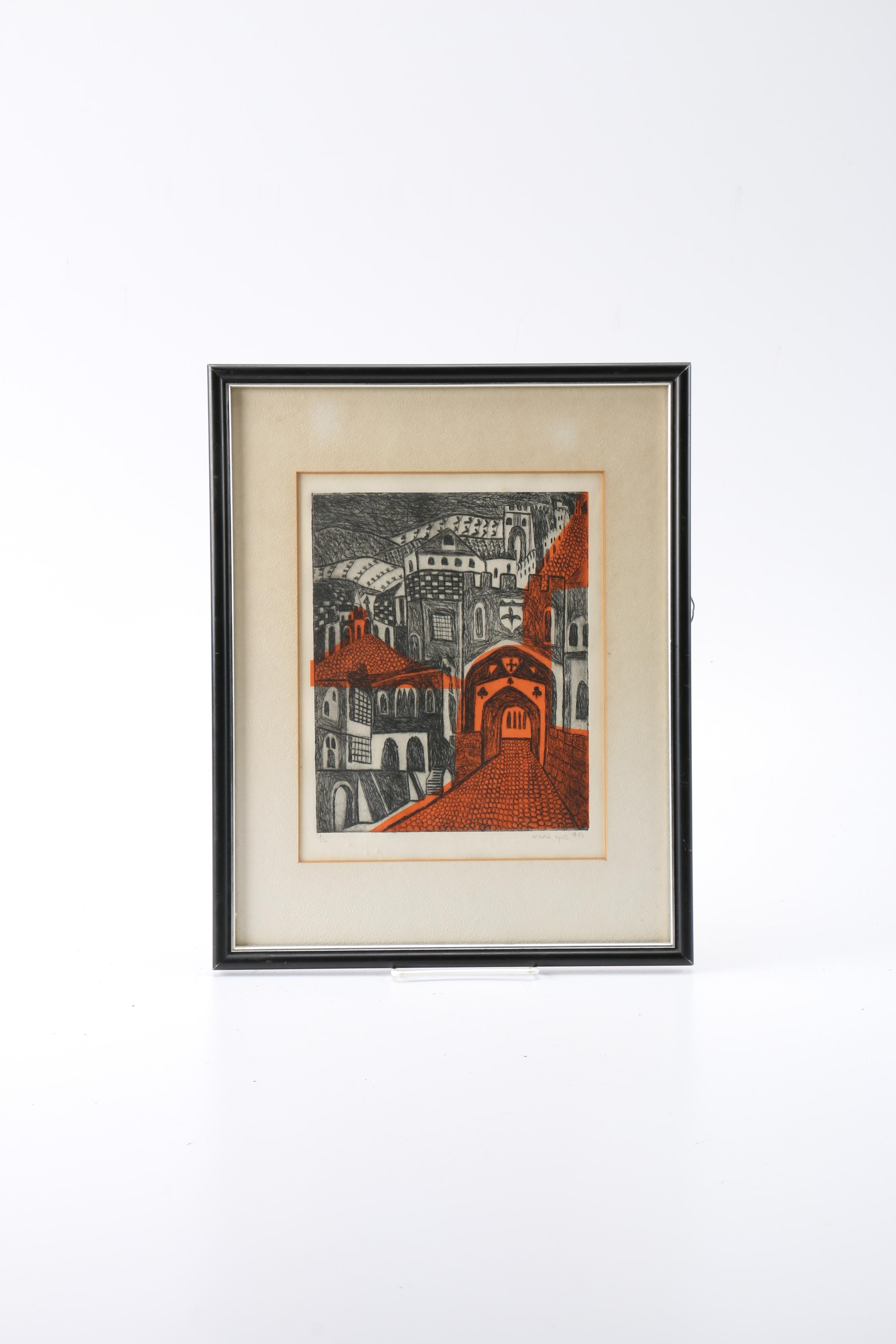 Maria Epes Limited Edition Etching of a Castle