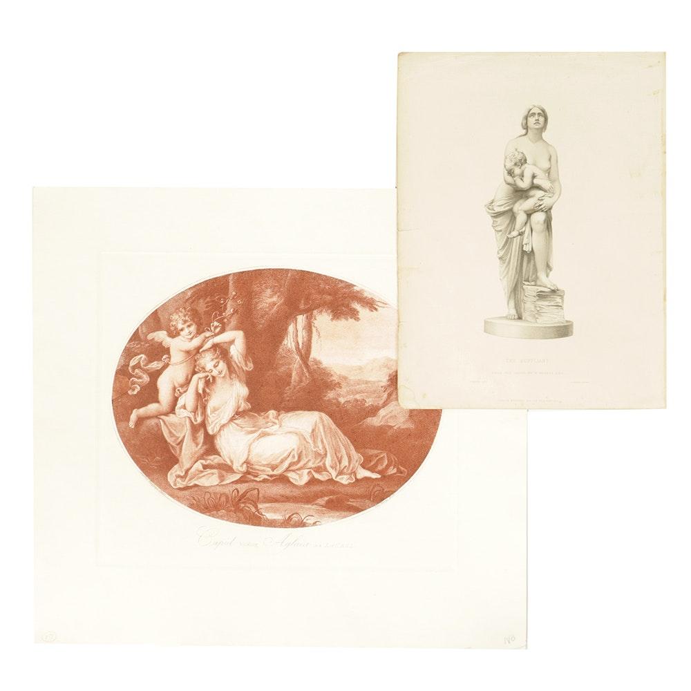 Pair of Engravings on Paper of Women
