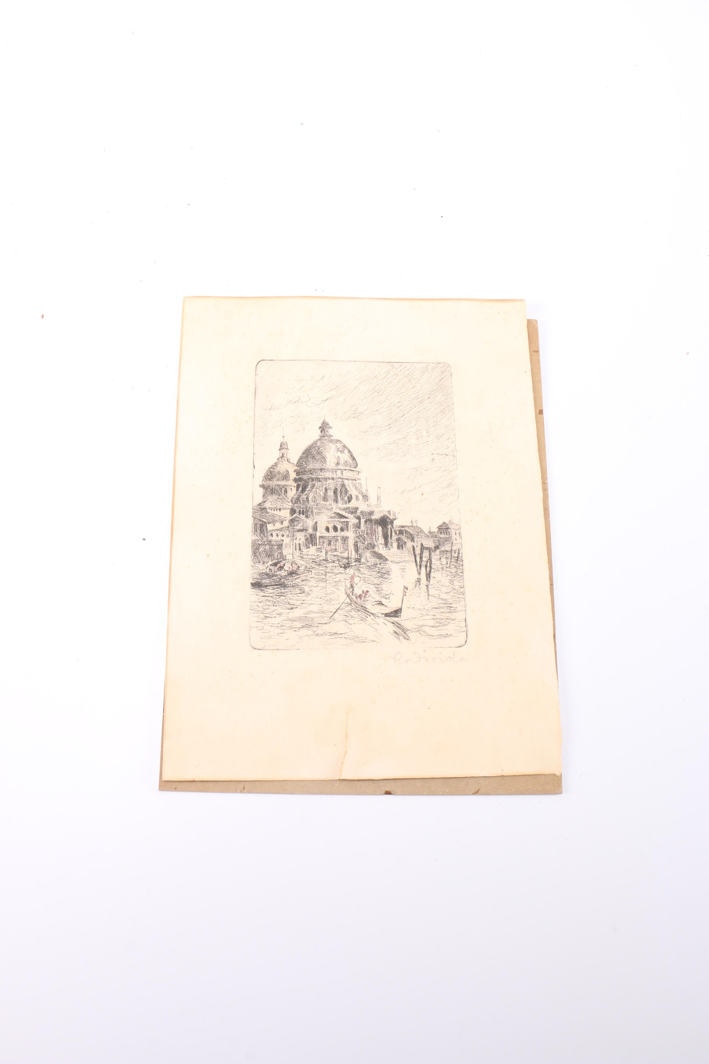 Etching of a Viennese Waterfront