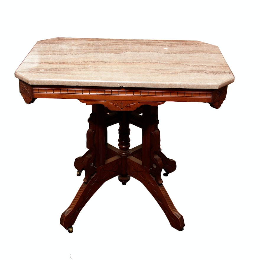 Antique Marble Side Table Reading: Vintage Marble Top Accent Table