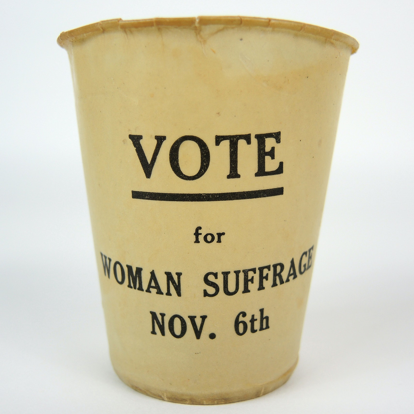Historic 'Vote for Woman Suffrage' Paper Cup c. 1917