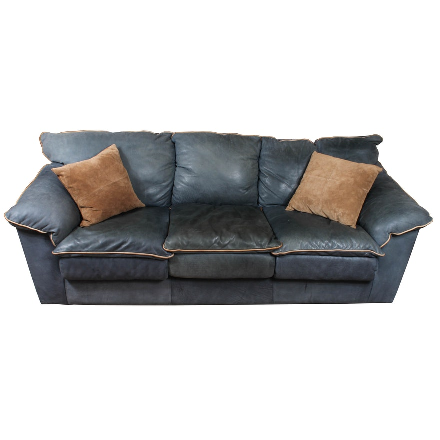 Viewpoint Leather Works Blue Sofa
