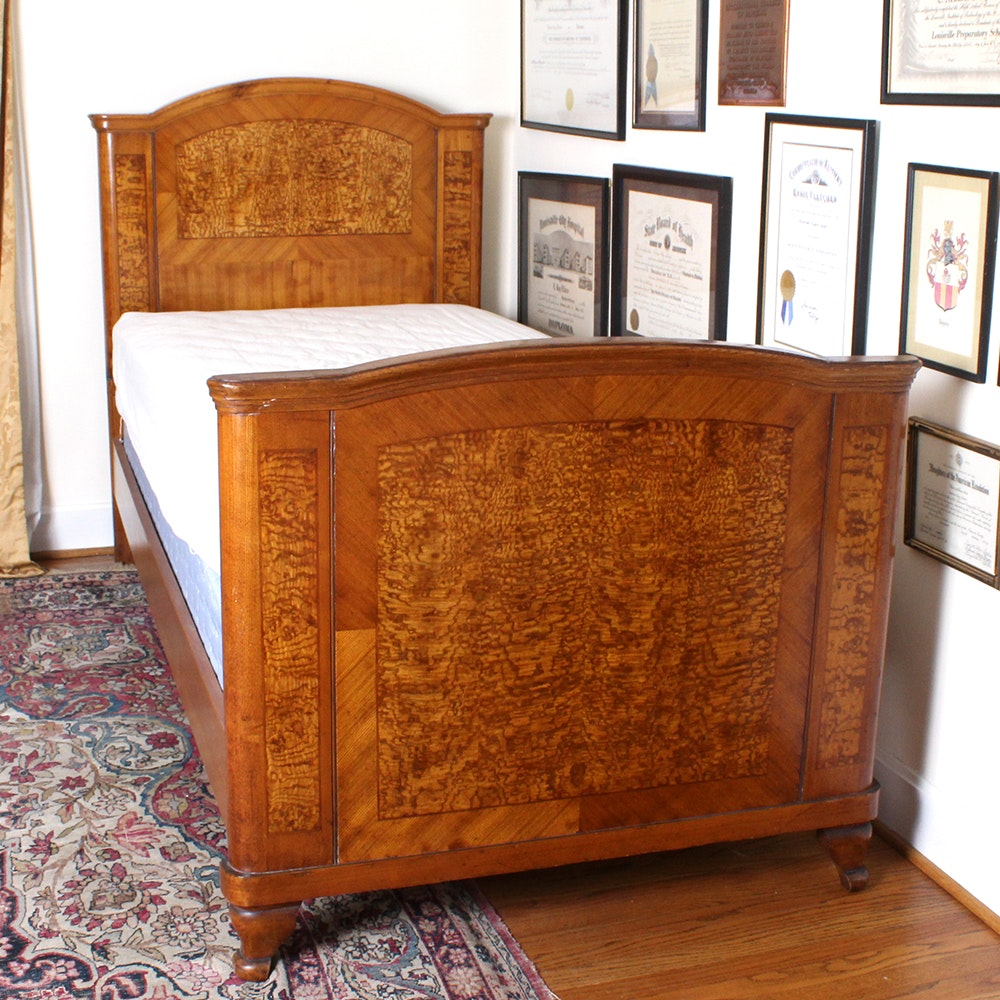 vintage burled wood twin bed - Twin Bed For Sale