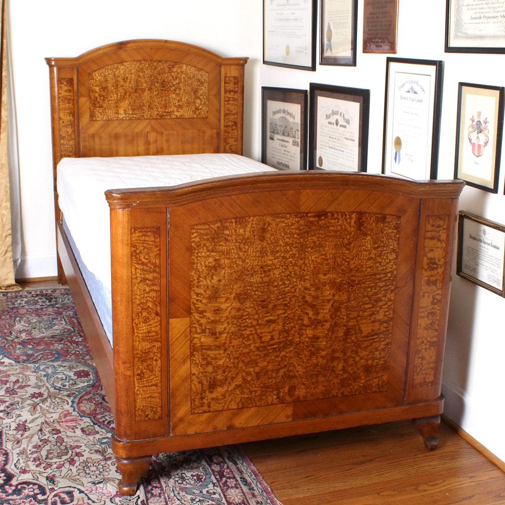 Superbe Vintage Burled Wood Twin Bed ...