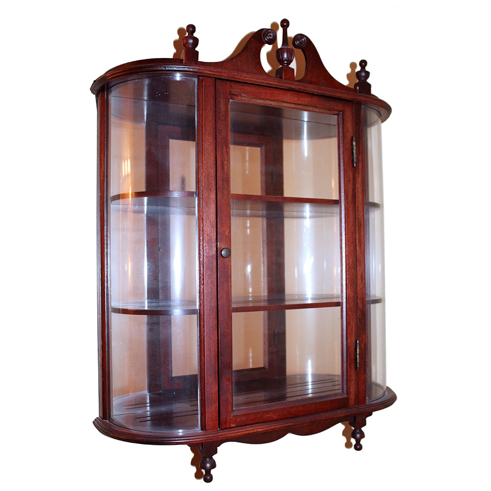 Merveilleux Small Cherry Wood And Glass Wall Curio Cabinet ...