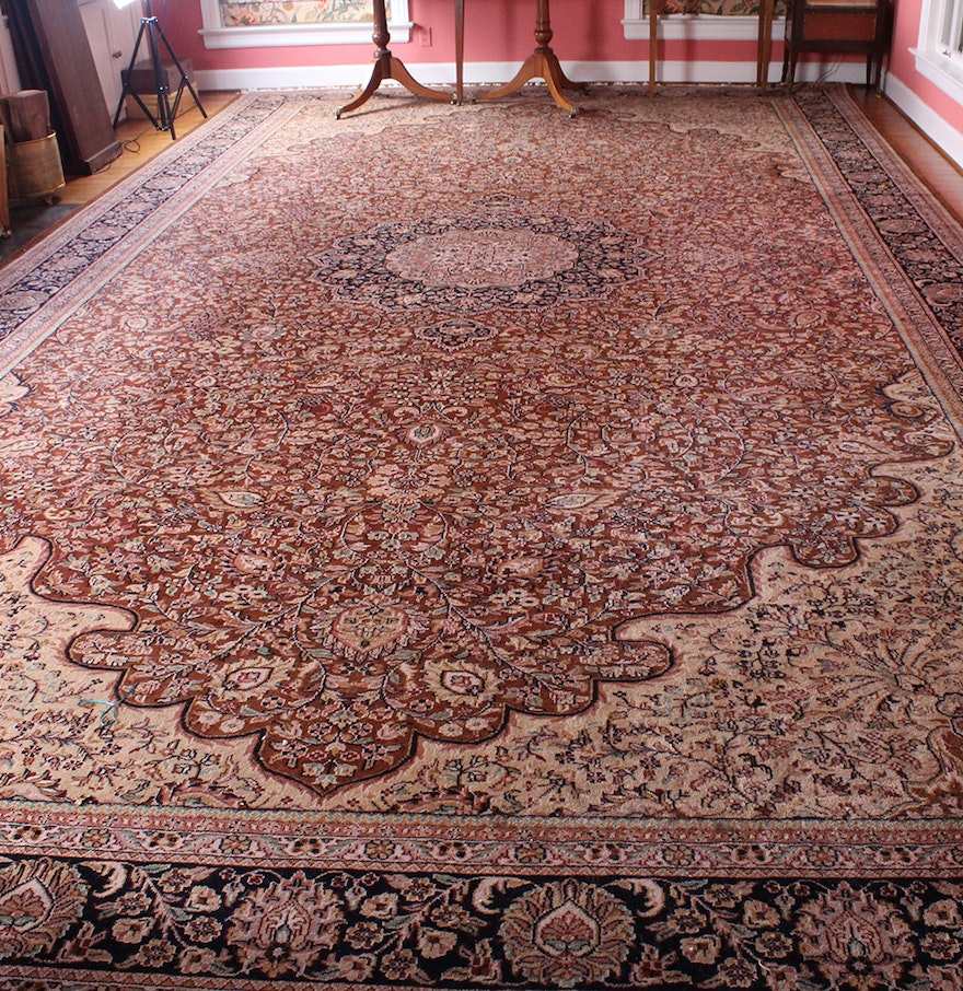 Hand-Knotted Indian Jaipur Palace Size Rug : EBTH