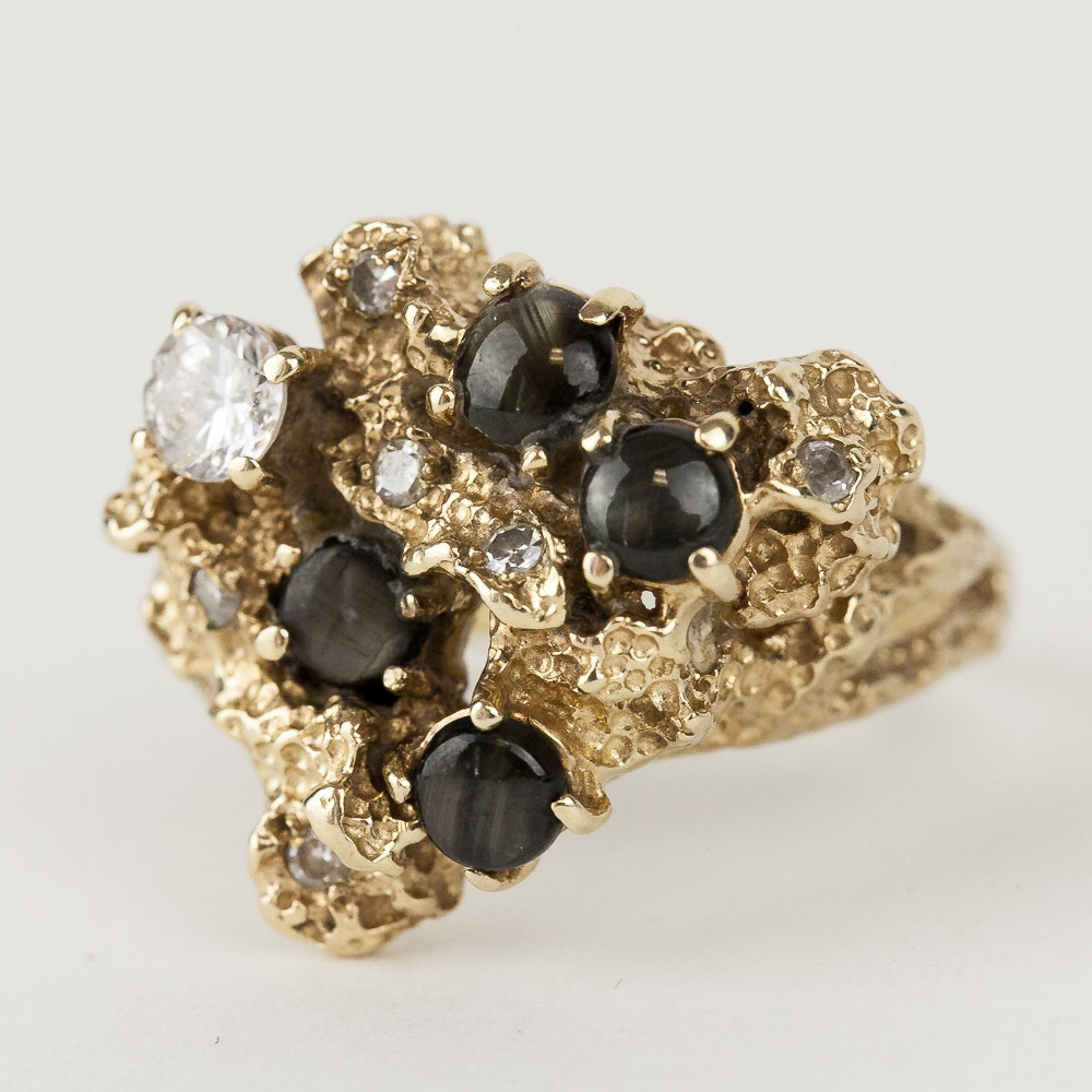 Epson 14K Yellow Gold, Star Sapphire, and Cubic Zirconia Statement Ring