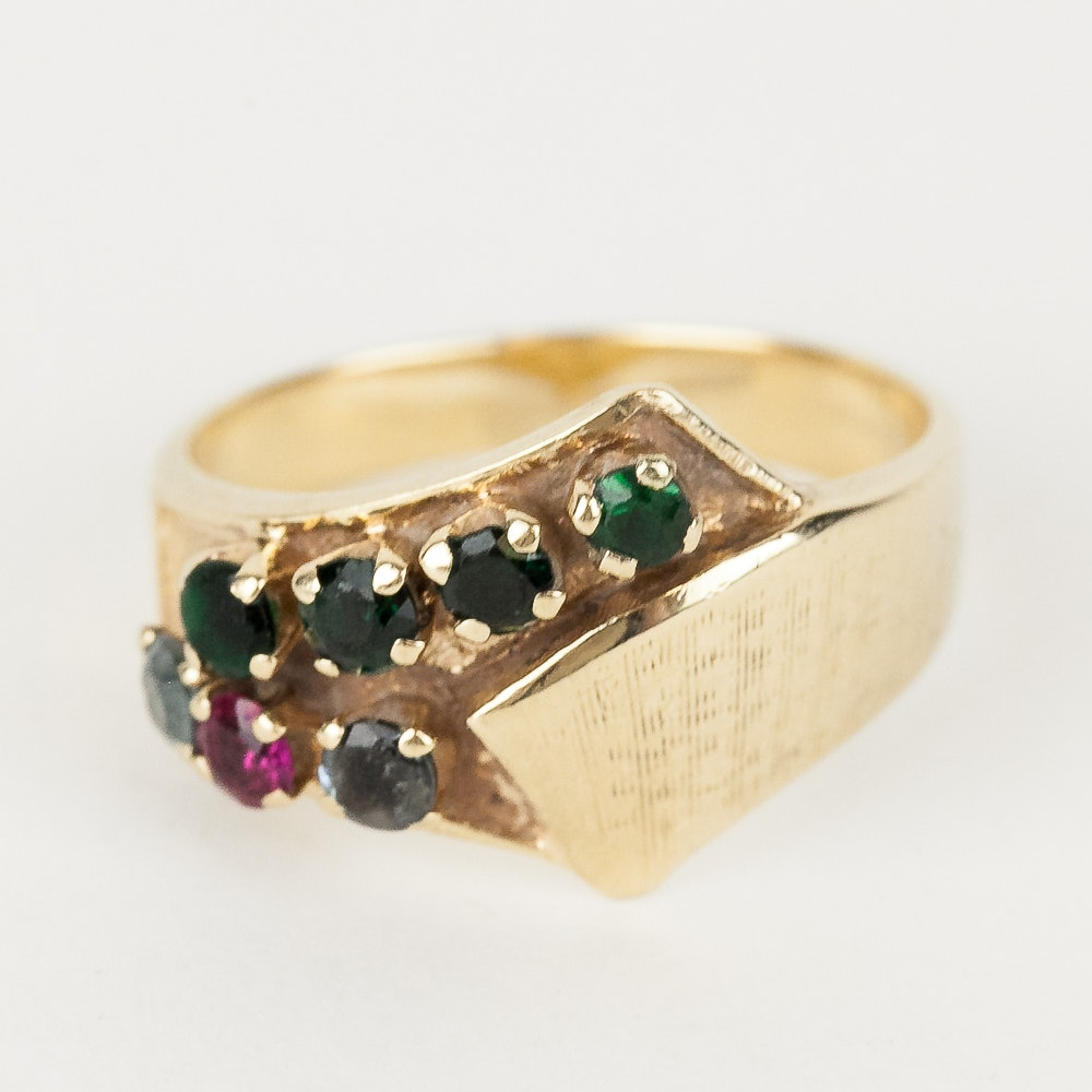 14K Yellow Gold and Synthetic Multi-Stone Ring