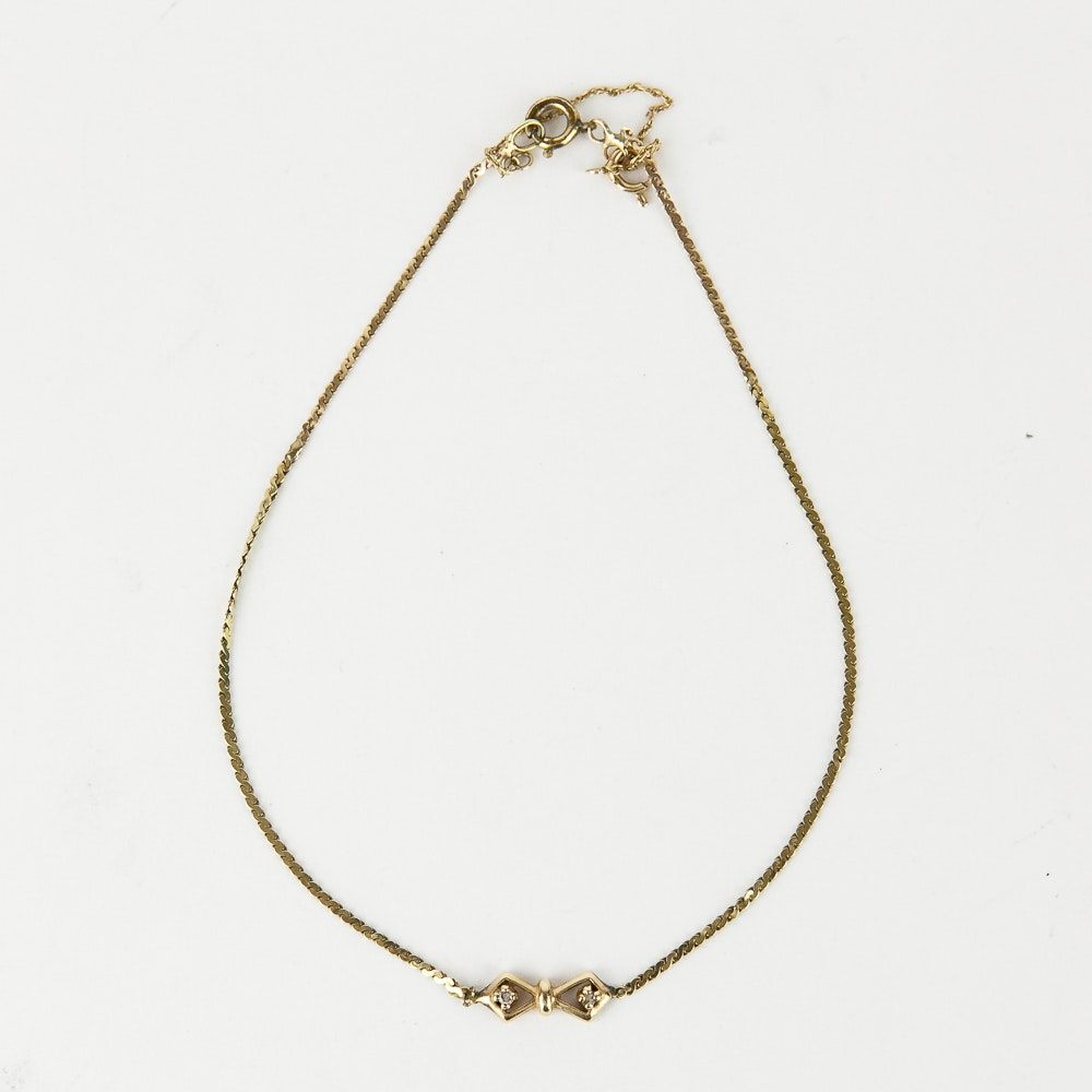 14K Yellow Gold and Diamond Serpentine Anklet