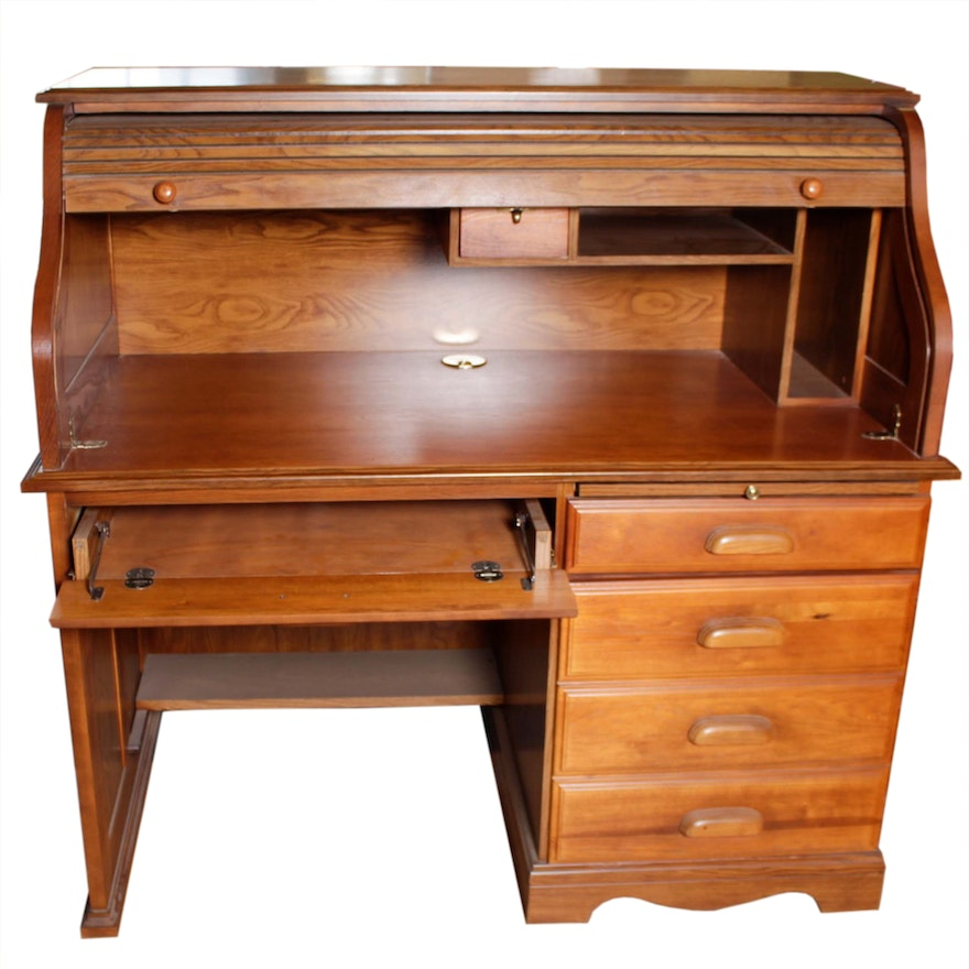 Dmi Furniture Oak Roll Top Computer Desk Ebth